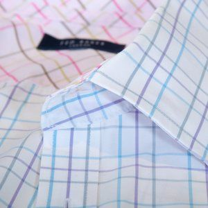 Ted Baker Blue and Purple Check Cotton Shirt